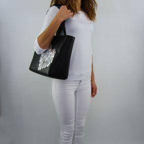Borsa shopping Love Moschino nera cuori argento