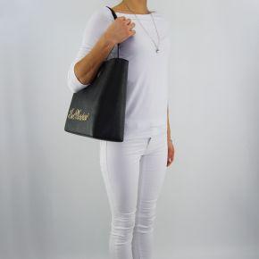 Borsa shopping Love Moschino scritta oro nera