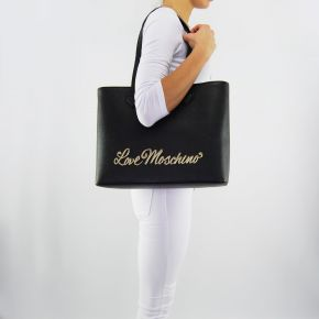 Shopping bag Love Moschino written in gold black