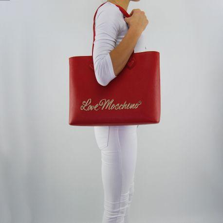 Borsa shopping Love Moschino scritta oro rossa