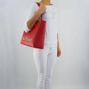 Einkaufstasche-Love Moschino schriftzug gold rot