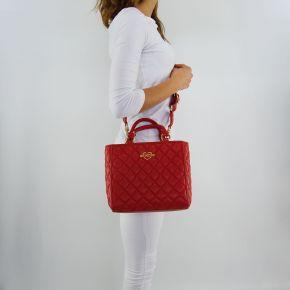 Borsa shopping Love Moschino trapuntata rossa