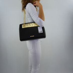 Shoulder bag Love Moschino with plaque Love Moschino gold black