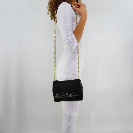 Borsa tracolla Love Moschino con scritta oro nera