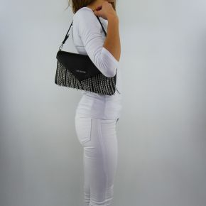 Shoulder bag Love Moschino black with fringes silver