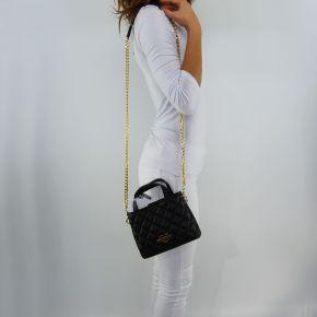 Umhängetasche-Love Moschino gesteppte schwarze gold