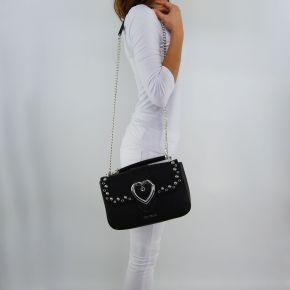 Borsa tracollq Love Moschino nero con decorazioni cuore argento