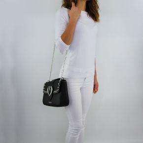 Umhängetasche-Love Moschino-schwarz mit dekor silber herz