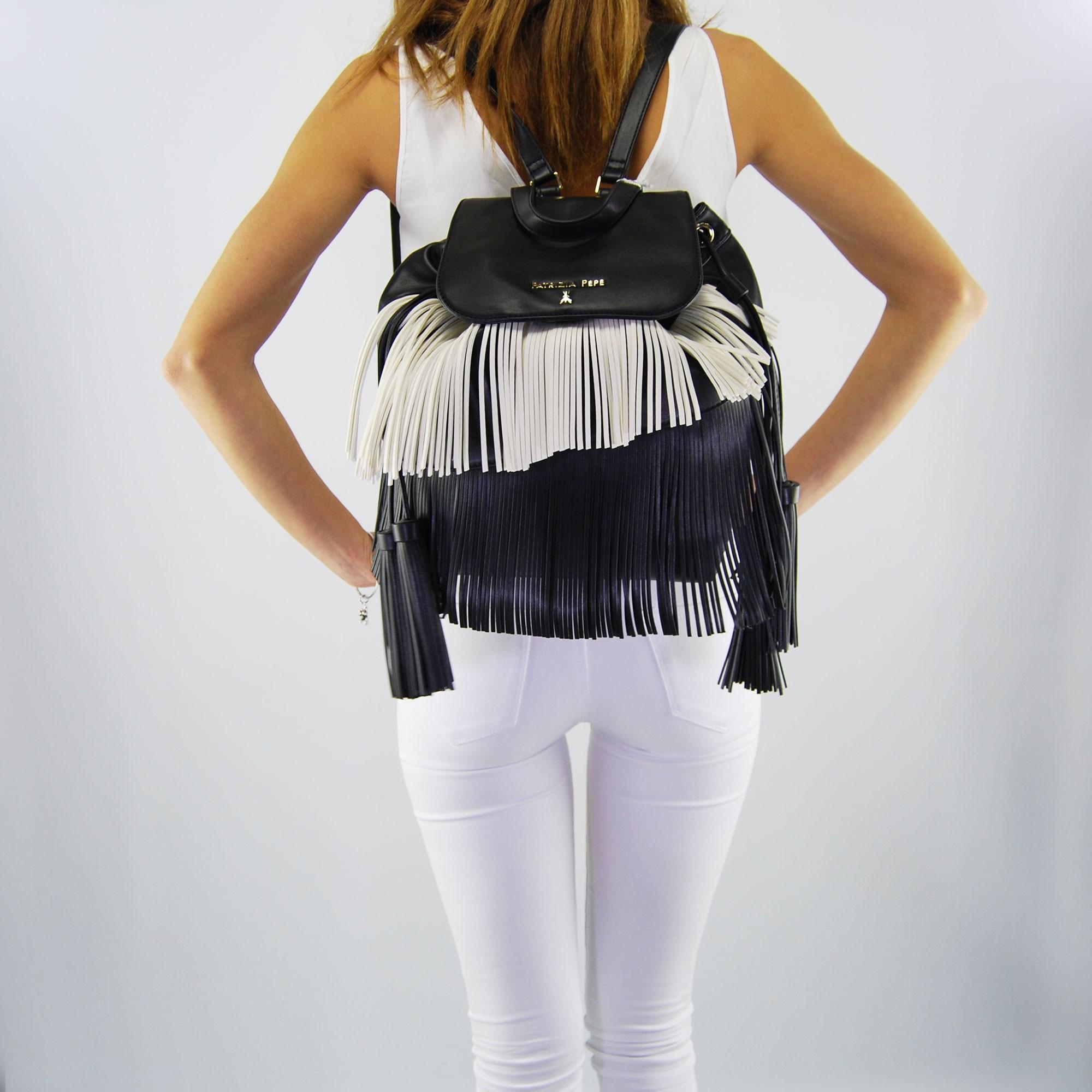 new style 2c440 24f07 Bag backpack Patrizia Pepe fringe black off white