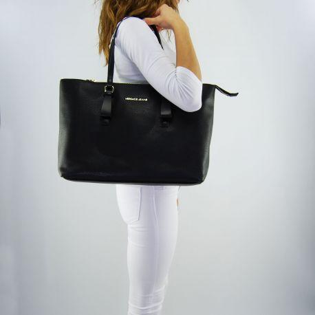 Borsa shopping Versace Jeans grana cervo morbida nera