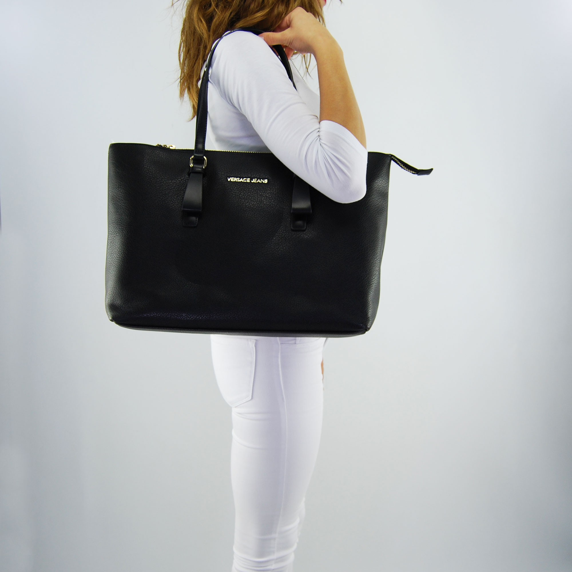 De Jeans Ciervo Compra Versace Suave Bolsa La Negro Grano rCBoWxed