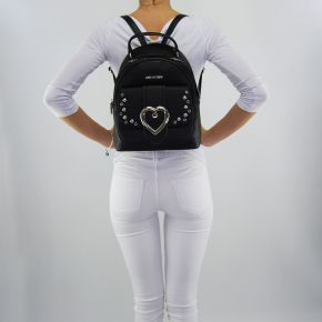 Backpack Love Moschino black with decorations of hearts silver