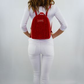 Backpack Love Moschino red suede