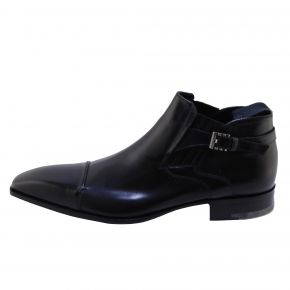 SHOE ELEGANT BLACK CALF LEATHER WITH BUCKLE AND LEATHER BOTTOM