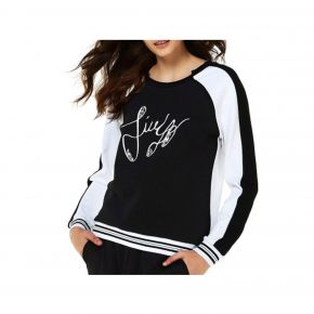 Sweatshirt-Liu Jo-charlotte-kapuzenjacke in schwarz und weiss