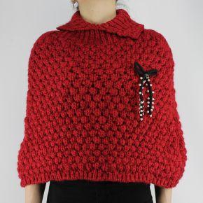 Cappa Twin Set pearl bow rosso rubino