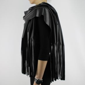 SCARF, BLACK LEATHER LONG FRINGE