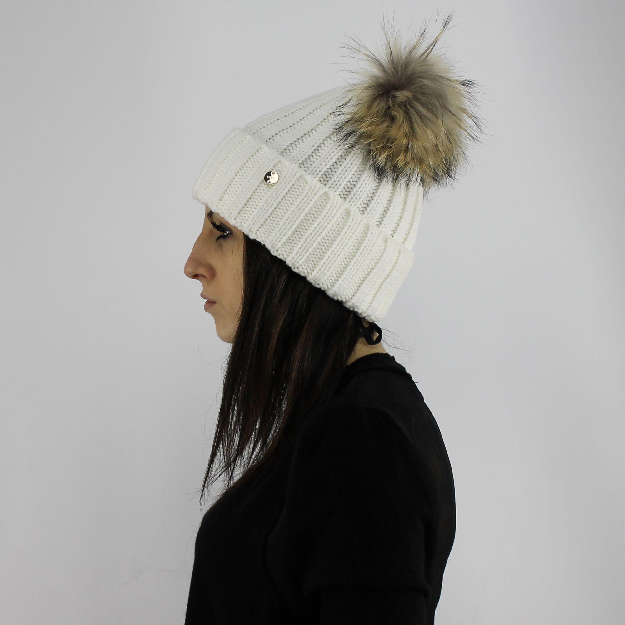 Cappello ponpon pelliccia LiuJo glass 39e58ae99e4