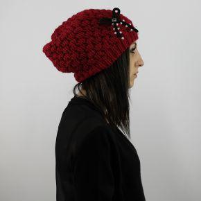 Auricular Doble Conjunto de perlas arco de color rojo rubí