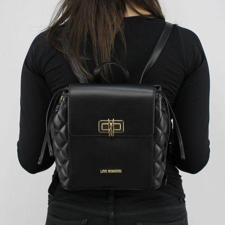 Rucksack Love Moschino schwarz ttapuntato mit wäscheklammer JC4023PP15LB0000