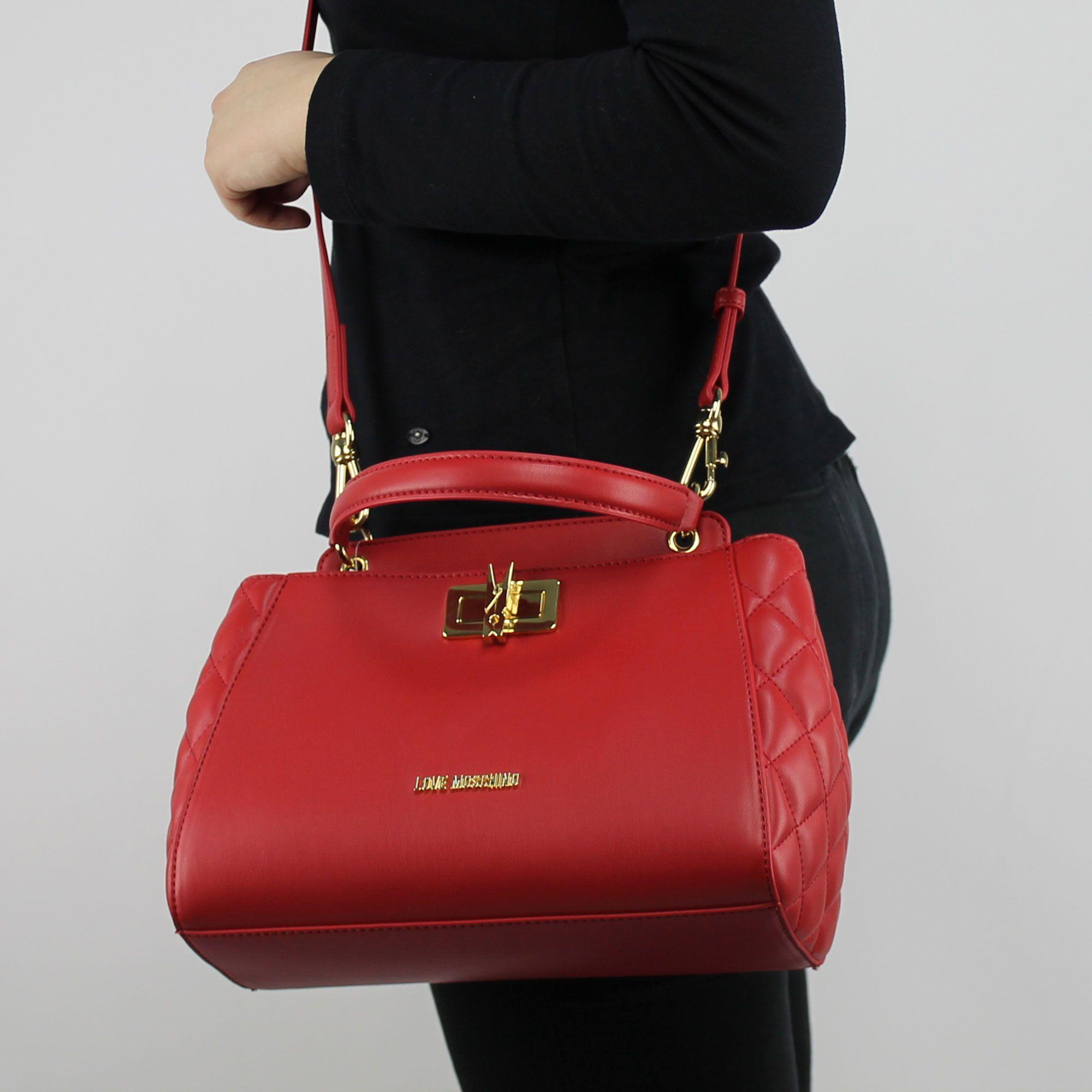Tasche topcase Love Moschino rote steppjacke mit wäscheklammer JC4024PP15LB0500