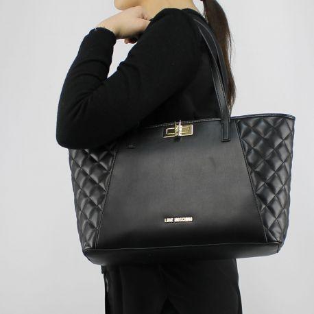 Einkaufstasche-Love Moschino-schwarze steppjacke mit wäscheklammer JC4025PP15LB0000