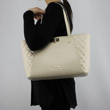 Einkaufstasche-Love Moschino elfenbein steppjacke mit wäscheklammer JC4025PP15LB0110