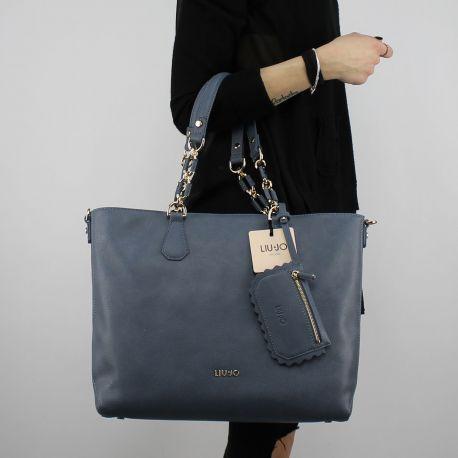 Borsa shopping Liu Jo Satchel Detroit blu A18003 E0027