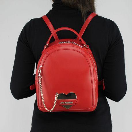 Rucksack Love Moschino rot mit herzen metall JC4075PP15LI0500