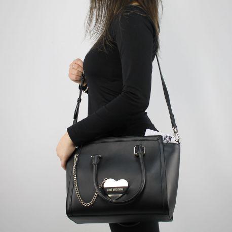 Borsa shopping Love Moschino nera con cuore metallico JC4077PP15LI0000