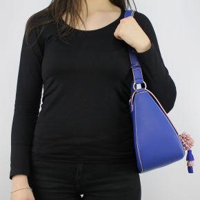 Borsa tracolla Love Moschino blu con pon pon rosa JC4081PP15LJ0750