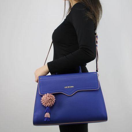 Borsa shopping Love Moschino blu con pon pon rosa JC4082PP15LJ0750