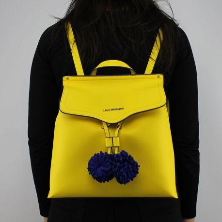 Zaino Love Moschino giallo con pon pon blu JC4084PP15LJ0400