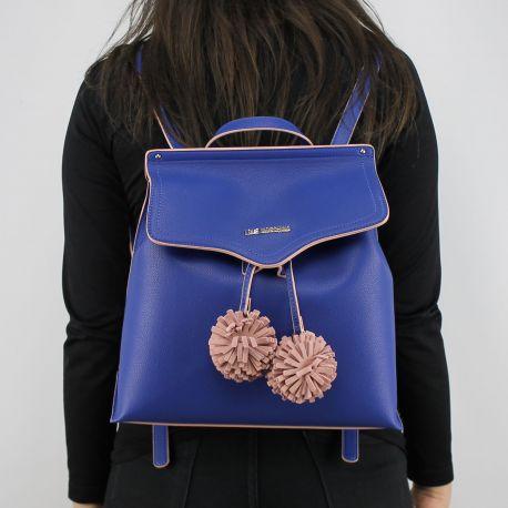 Zaino Love Moschino blu con pon pon rosa JC4084PP15LJ0750