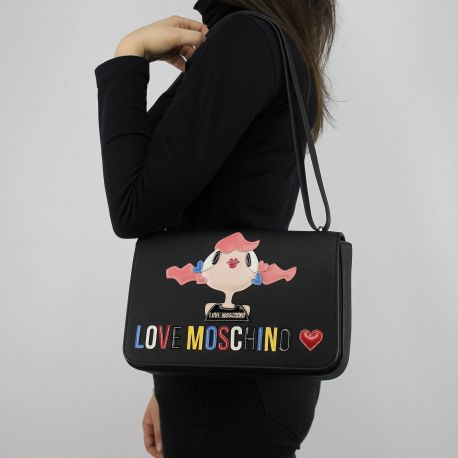 Borsa tracolla Love Moschino nera con bambolina JC4088PP15LK0000