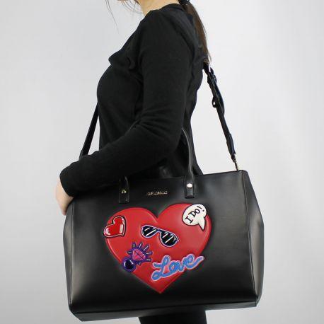 Borsa shopping Love Moschino nera con cuore rosso JC4107PP15LT0000