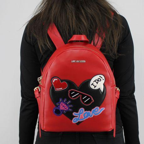 Zaino Love Moschino rosso con cuore nero JC4110PP15LT0500