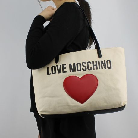 Borsa shopping Love Moschino in tela avorio JC4136PP15L3010A