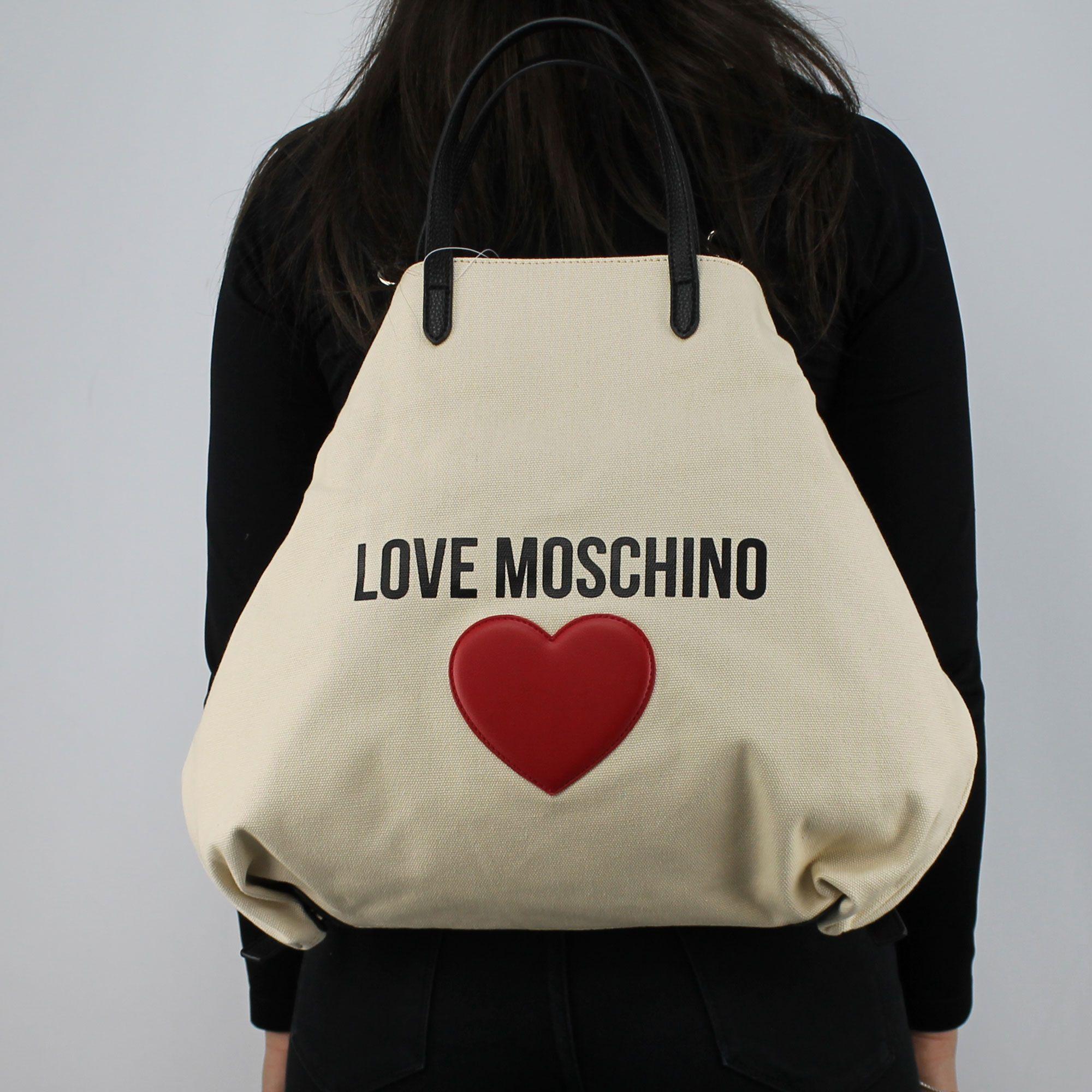 Borsa shopping Love Moschino in tela avorio JC4139PP15L3010A - In ... 98e8771ccc8