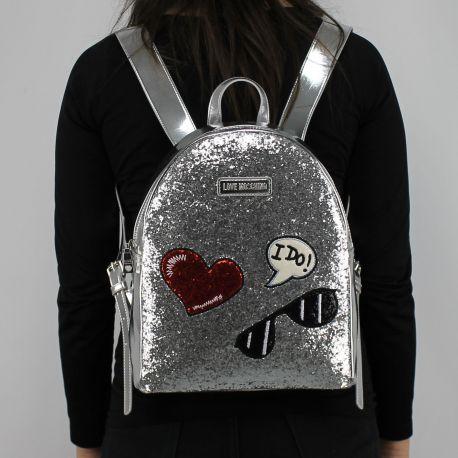 Rucksack Love Moschino silber und glitters JC4149PP15LL0902