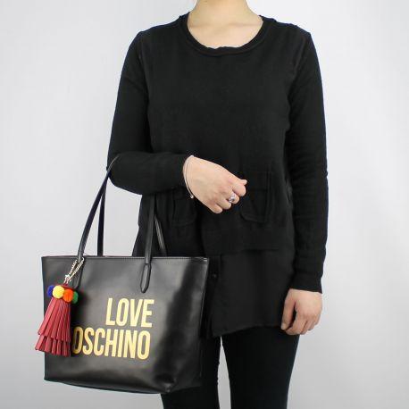 Borsa shopping Love Moschino nera logo argentato JC4310PP05KQ0000