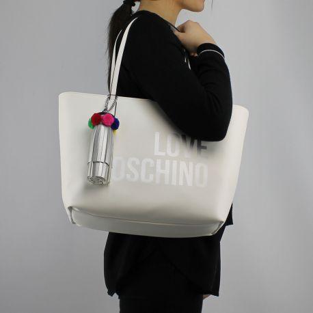 Borsa shopping Love Moschino bianca logo argentato JC4310PP05KQ0100