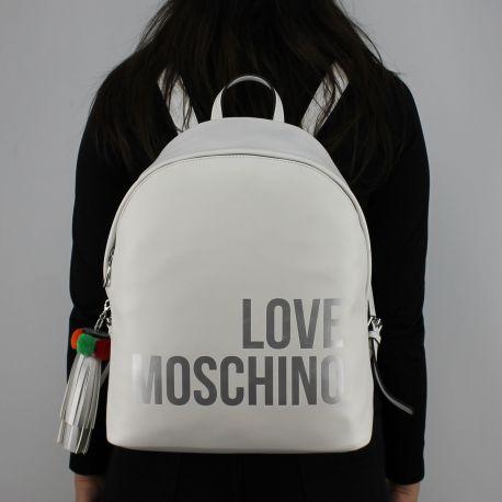 Zaino Love Moschino bianco logo argentato JC4312PP05KQ0100