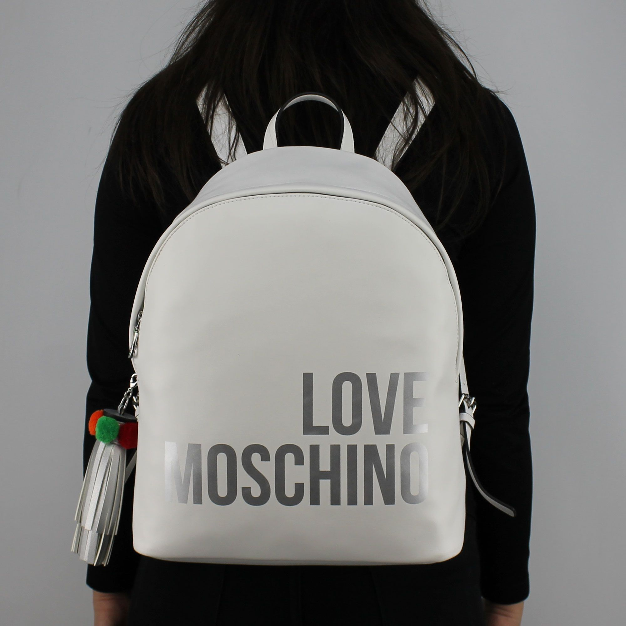 Backpack Love Moschino white silver logo JC4312PP05KQ0100