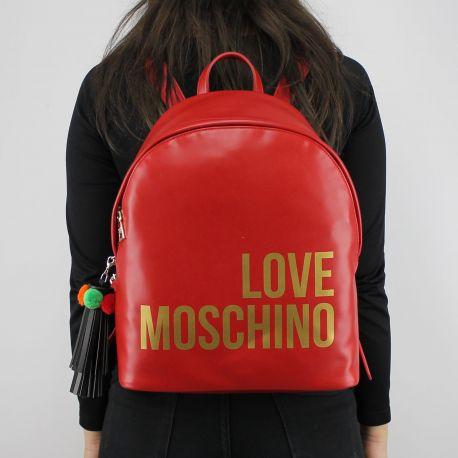 Rucksack-Love Moschino rot-goldenen logo JC4312PP05KQ0500