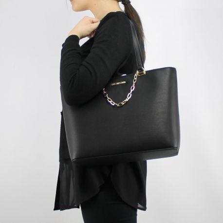 Borsa shopping Love Moschino nera con catena dorata JC4350PP05K7000B