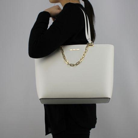 Einkaufstasche-Love Moschino in weiß mit goldene kette JC4350PP05K70100