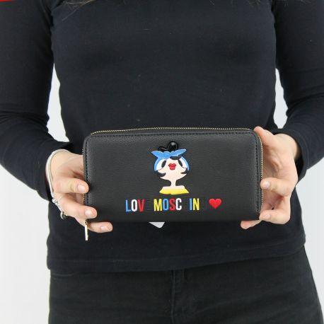 Brieftasche-Love Moschino-schwarz mit bambolina JC5500PP15LK0000