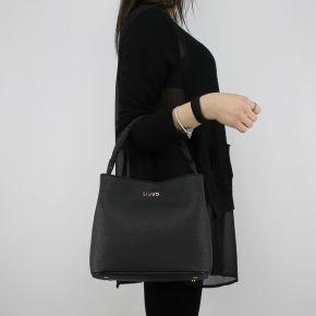 Bolsa de bolsa de balde Liu Jo Cordón de Manhattan negro A18101 E0499