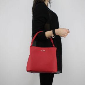 Bolsa de bolsa de balde Liu Jo Cordón de Manhattan rojo A18101 E0499